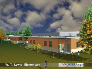 SGB/Yates artists rendering of additions at W.T. Lewis Elementary that begins construction Wednesday.