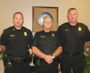 Courtesy photo Pictured left to right: Sgt. Joel Frentress, Lt. Richard Nunnery and Chief Shane McWilliams.