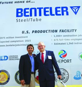 Louisiana Gov. Bobby Jindal and Benteler International AG Chief Financial Officer Boris Gleissner pose for a picture at the future site of the new multi-million dollar Benteler Steel/Tube facility at the Port of Caddo/Bossier.