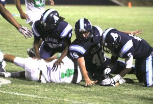 Randy Brown/Press-Tribune The Airline defense held Bossier to 44 yards in a 46-0 victory Friday night at Airline Stadium.
