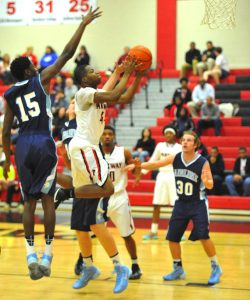 Jere Grice/Press-Tribune Parkway's William McKnight goes up for a shot during the Panthers' 62-60 District 1-5A victory over Airline Tuesday night at Parkway.
