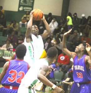 Randy Brown/Press-Tribune Bossier's Darius Leary looks to pass during the Bearkats' 64-48 victory over Evangel Friday night at Bossier.