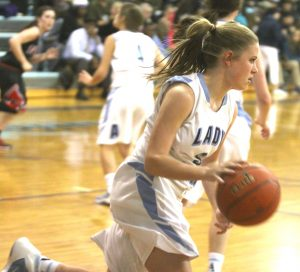 Randy Brown/Press-Tribune Madison Rowland hit three 3-pointers and scored 13 points in the Lady Vikings' victory over Parkway Friday at Airline.