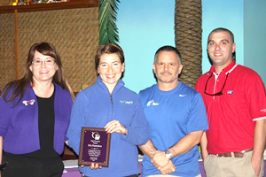 Fit nation was honored for their accomplishments at being the top fund raising team for the 2013 Relay for life season in Bossier City and they rasied over $13,000 for the local ACS Relay for Life-Bossier City event. Pictured left to right: Michele Curtis, Relay for Life-Bossier City chairperson;  Lindsi Martin, group fitness instructor and trainer; Jeff Barbera, manager; and Casey Keene, ACS staff member.