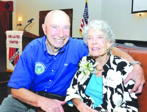 Courtesy of Lt. BillDavis Col. Steve and Gloria dePyssler, wed for 70 years, at dePyssler's birthday celebration this past weekend.