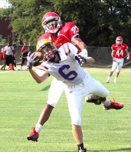 Russell Hedges/Press-Tribune Benton's Brooks Cram catches a touchdown pass in A 12-7 victory over Haughton on Thursday in the Freshman Jamboree.