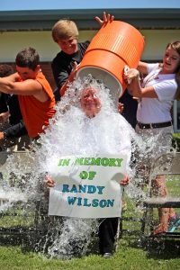 Amanda Crane/Press-Tribune | Bossier Superintendent D.C. Machen accepted the ice bucket challenge Wednesday on behalf of life-long friend Randy Wilson, who passed away from ALS in 2012.
