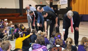 Photo by Lt. Bill Davis, Bossier Sheriff's Office | (L to R) Benton Mayor Wayne Cathcart, Bossier Sheriff Julian Whittington, Rep. Jeff Thompson, Benton Police Chief Charles Pilkinton and Assistant District Attorney Lane Pittard meet with students at Benton Elementary School Monday afternoon.
