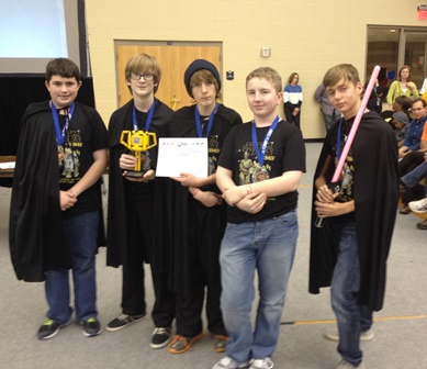 Benton Middle's Robotics Team recently won the FLL state championship. Pictured left to right are: Ben Montgomery, Thomas Payne, Hunter Barnes, Gannon Matlock and Chandler Burns.