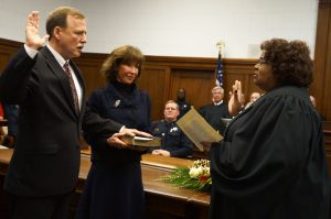 Scott Crichton was recently sworn in as Louisiana State Supreme Court justice by Chief Justice Bernette Johnson.