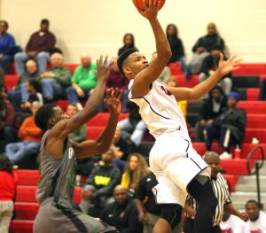 Russell Hedges/Press-Tribune Juwon Johnson scored 13 points in Parkway's 61-56 victory over Bossier Monday night at Parkway.
