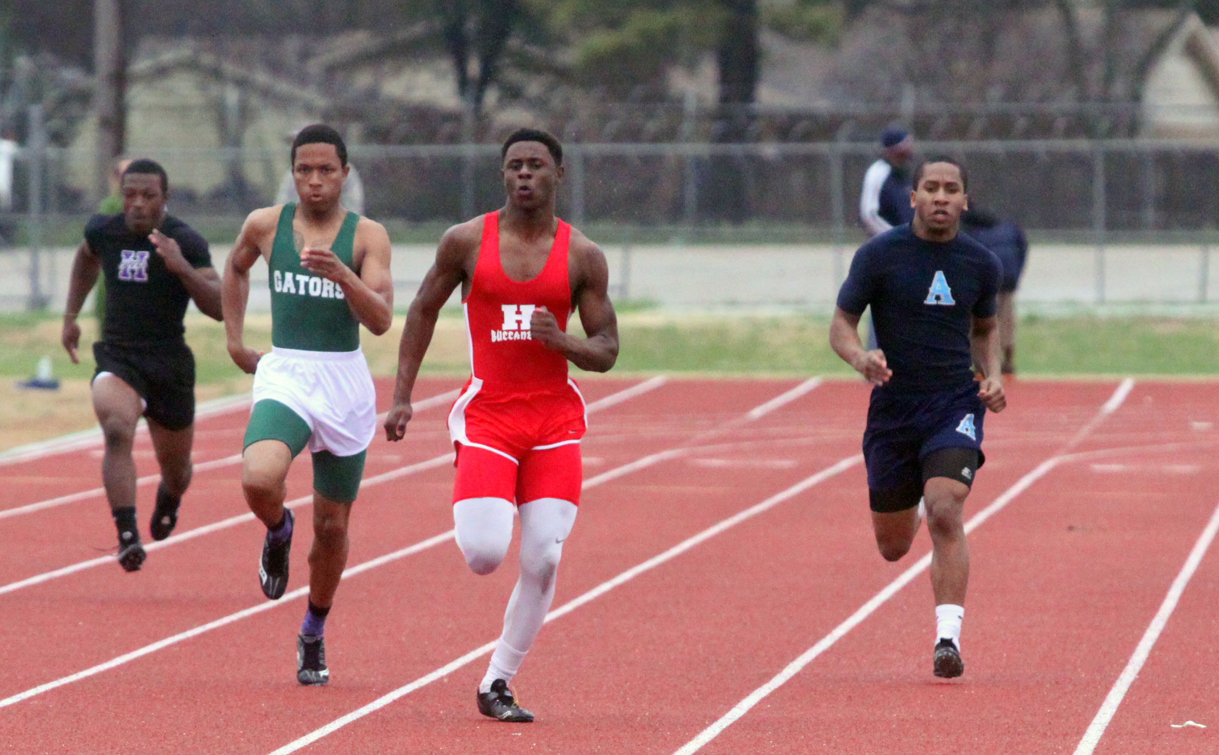 Russell Hedges/Press-Tribune Haughton's Josh Lister won the 100 and finished second in the 200 in the Viking Relays Friday at Airline