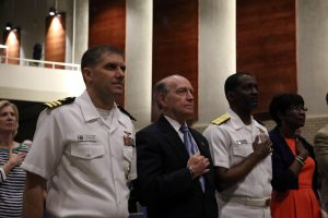 BOSSIER CITY, La. (April 28, 2015) Cmdr. Ben Finney, executive officer of Navy Recruiting District Houston, Mayor Lorenz Walker, mayor of Bossier City, Rear Adm. Keith Jones, Reserve Director, Logistics Programs and Business Operations and Ferriday, Louisiana native, and Mayor Ollie Tyler, mayor of Shreveport, stand during the national anthem at Airline High School's Navy Night, part of Navy Week Shreveport. Navy Weeks focus a variety of assets, equipment and personnel on a single city for a week-long series of engagements designed to bring America's Navy closer to the people it protects, in cities that don't have a large naval presence. (U.S. Navy photo by Mass Communication Specialist 2nd Class John Hetherington/Released)