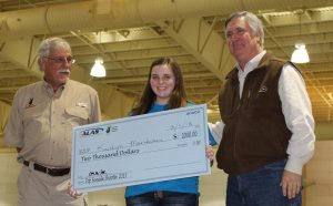 Courtesy Photo | Top Female Shooter – Kaitlyn Misenheimer  receives a $2,000.00 scholarship provided by Central Louisiana QDMA.  From left to right Jack Daughtry of Central Louisiana QDMA, Kaitlyn Misenheimer, Benton Middle School, Bob Stevens president of Central Louisiana QDMA.