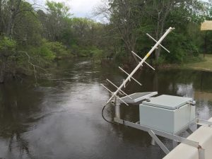 Courtesy Photo | A gauge located on the Dogwood Trail bridge is used by the Bossier Parish office of Homeland Security and Emergency Preparedness to measure the water level of Red Chute Bayou. The bayou is one of the major water drainage sources in the parish.