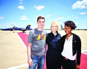 (Courtesy of Joe Nickle) Bossier Parish Technical School students Zack Wortham and Jasmine Frazier were on the flight line to cheer on principal Jayda Spillers.