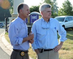 Photo by Deputy Josh Cagle, Bossier Sheriff's Office, Public Information Office | Sheriff Julian Whittington and U.S. Senator Bill Cassidy, M.D., discuss the current flood state of the River Bluff subdivision in Bossier Parish.