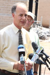 Amanda Simmons/Press-Tribune  | Bossier Sheriff Julian Whittington explains at a press conference June 19 that the second round of flooding from the Red River will impact Bossier Parish by the end of June. The crest is predicted to reach 34 feet.