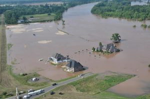 Photo by Lt. Bill Davis, Bossier Sheriff's Office | An aerial view of the River Bluff neighborhood, located north of Bossier City on Highway 3. Photo taken on June 4, 2015 when the Red River reached 34 feet. The river is now predicted to crest at 36.5 feet.