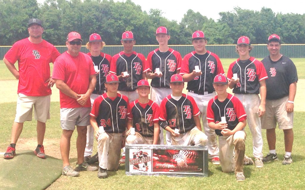 Courtesy Photo TPB won the 13 Majors USSSA Louisiana State Championship Tournament in Erath last month. (Standing, left to right): Coach Dirk Garmany, Coach Brian Connell, Halen Sanders, Peyton Lewis, Jacob Grissom, Will Tynes, Riley Beck, Coach Joe Tynes; (kneeling): Christopher Lutterman, Luke Hamiter, Bryson Connell, Kade Garmany.  Not pictured: Jaxon Clark.