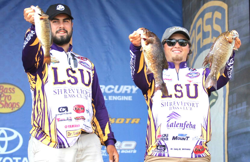 Shaye Baker/Bassmaster The LSUS team of JP KImbrough and Jared Rascoe are tied for second after Day 1 of the Carhartt College National Championship presented by Bass Pro Shops.
