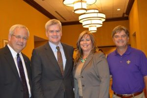 Courtesy Photo | Pictured with Sen. Bill Cassidy are Dr. Jim Henderson, President of Northwestern State University; Lisa Johnson, President & CEO of the Bossier Chamber of Commerce; and Emile Cordaro, Bossier Chamber Board Chairman.