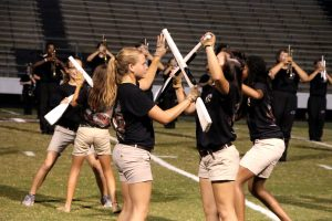 Amanda Simmons/Press-Tribune | The Parkway HS color guard utilizes a variety of performance tools during their halftime show.