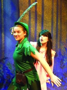 Courtesy Photo | Starring in the BPCC production as Peter Pan is Tova Volcheck, a sophomore theatre arts major. At her side playing the role of Wendy Darling is Madeline Hiers, a sophomore theatre arts major.
