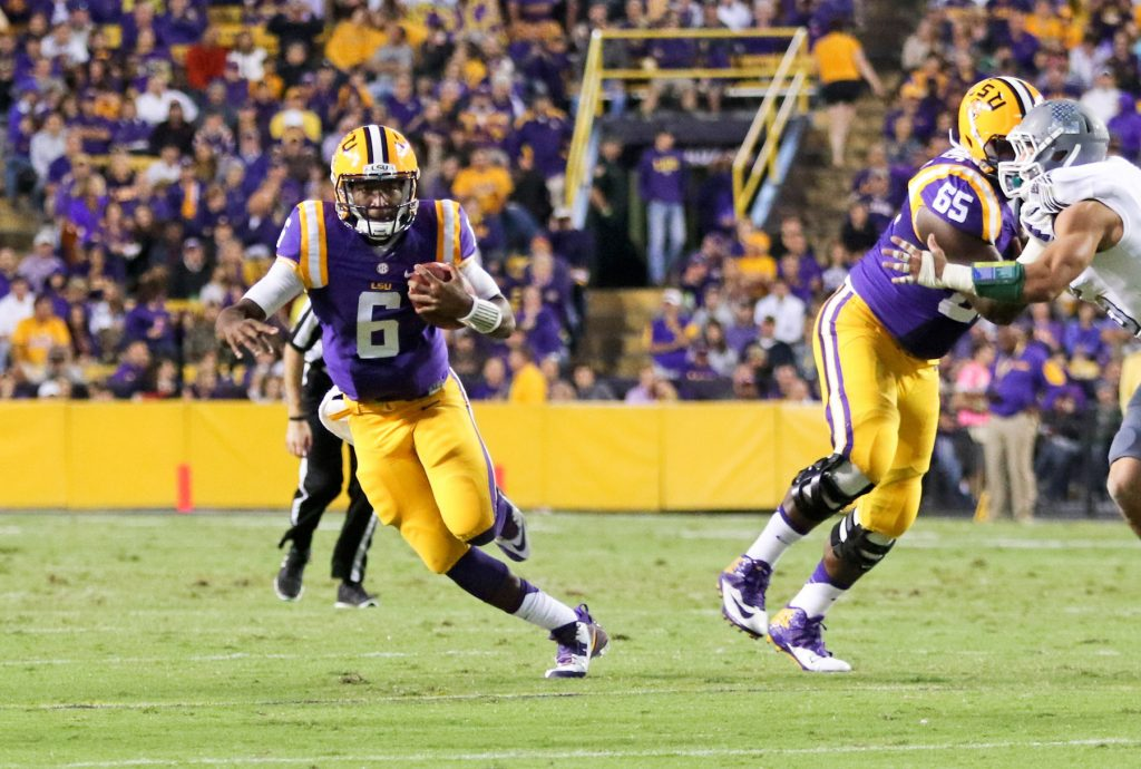 Robert Summerlin/Special to The Press Tribune LSU quarterback Brandon Harris, a former Parkway star, finds some running room in the Tigers' victory over Eastern Michigan on Saturday in Baton Rouge.