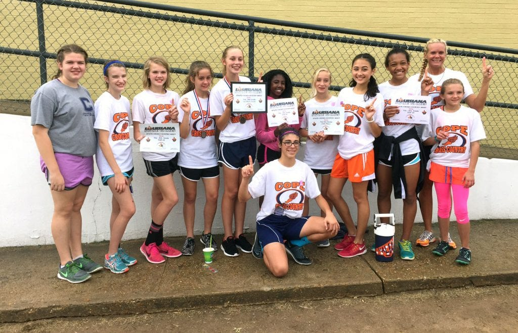 Courtesy Photo The Cope girls won the middle school state cross country championship on Saturday at ULM.