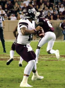 Chris Hable/Special to The Press-Tribune Mississippi State quarterback Dak Prescott, a former Haughton standout, prepares to pass against Texas A&M on Saturday in College Staion, Texas.