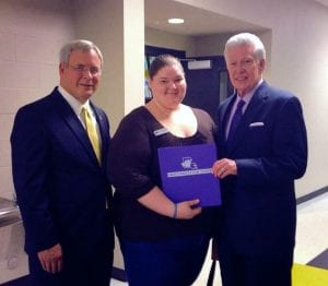 BPT Managing Editor Amanda Simmons (center) with former NSU President Dr. Randy Webb (right) and current NSU President Dr. Jim Henderson (left).