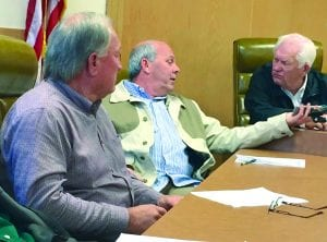 Courtesy Photo | Pete Camp (center) talks with BTF Chairman Billy Montgomery (right) and Bossier Parish Police Jury member Bob Brotherton. Brotherton and Montgomery represent Bossier Parish on the task force.