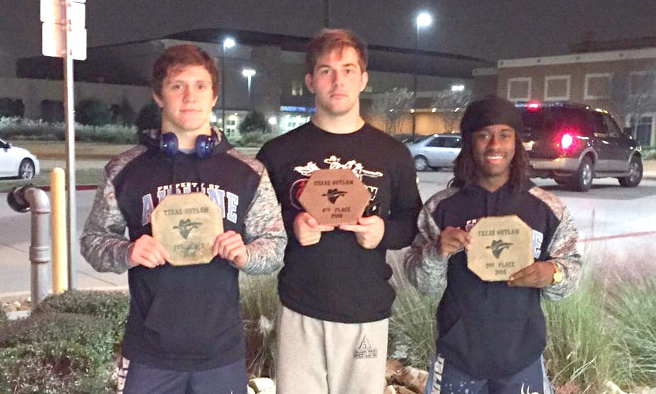 Courtesy Photo Airline's Christian Walden (2nd, 160), Keegan Gilligan (4th, 182) and Javarious Jones (2nd, 126) posted high finishes in the Texas Outlaw meet.
