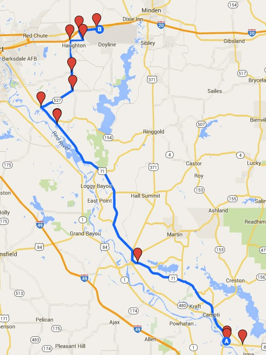 A map showing the burn chamber's route through Bossier Parish.