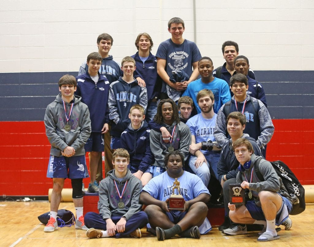 Robert Summerlin/Special to The Press-Tribune Airline won the NW La. wrestling regional tournament for the third straight year on Saturday at North DeSoto.