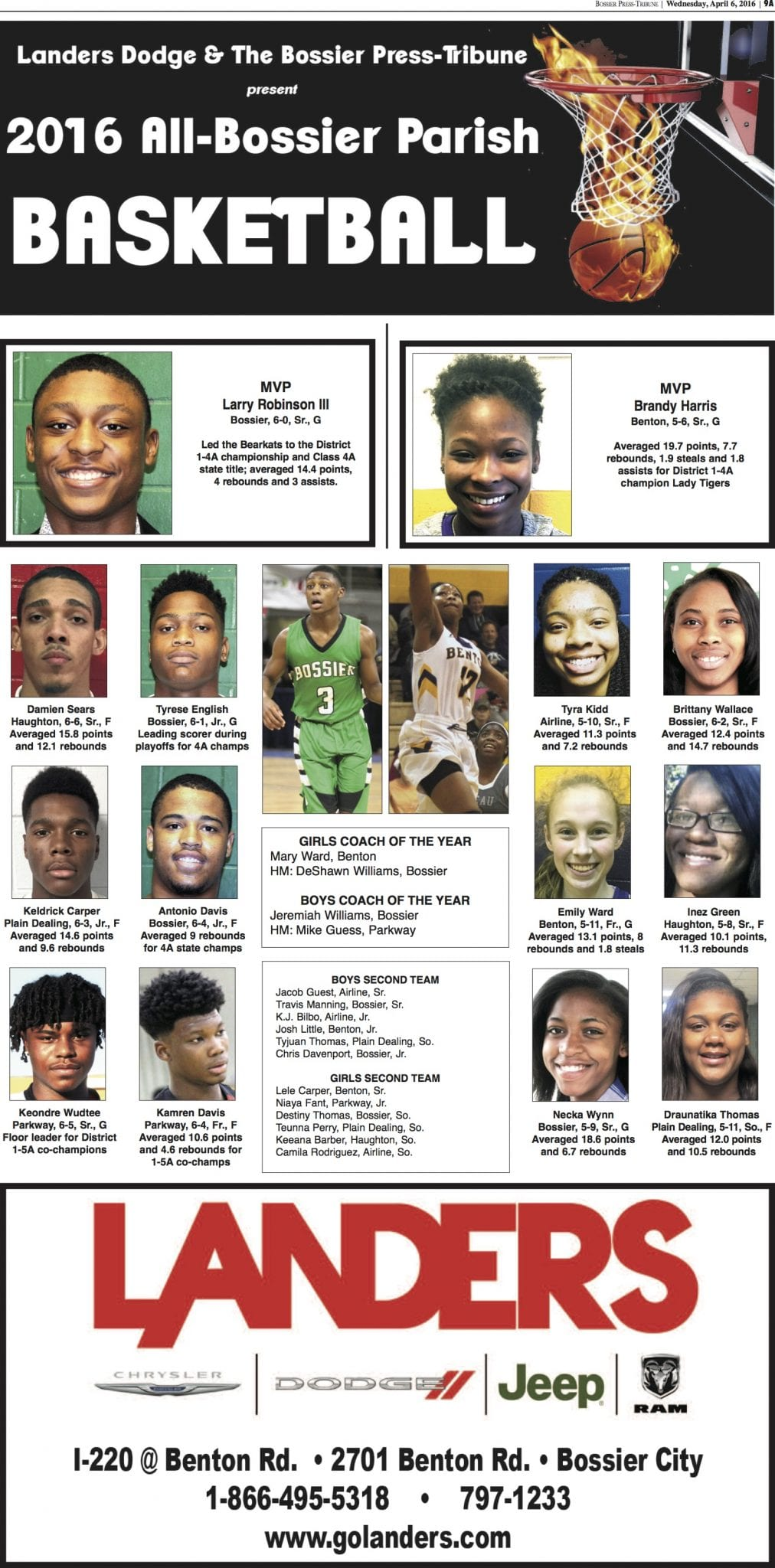 2016 all bossier parish basketball teams page presented by landers chrysler d. Cars Review. Best American Auto & Cars Review