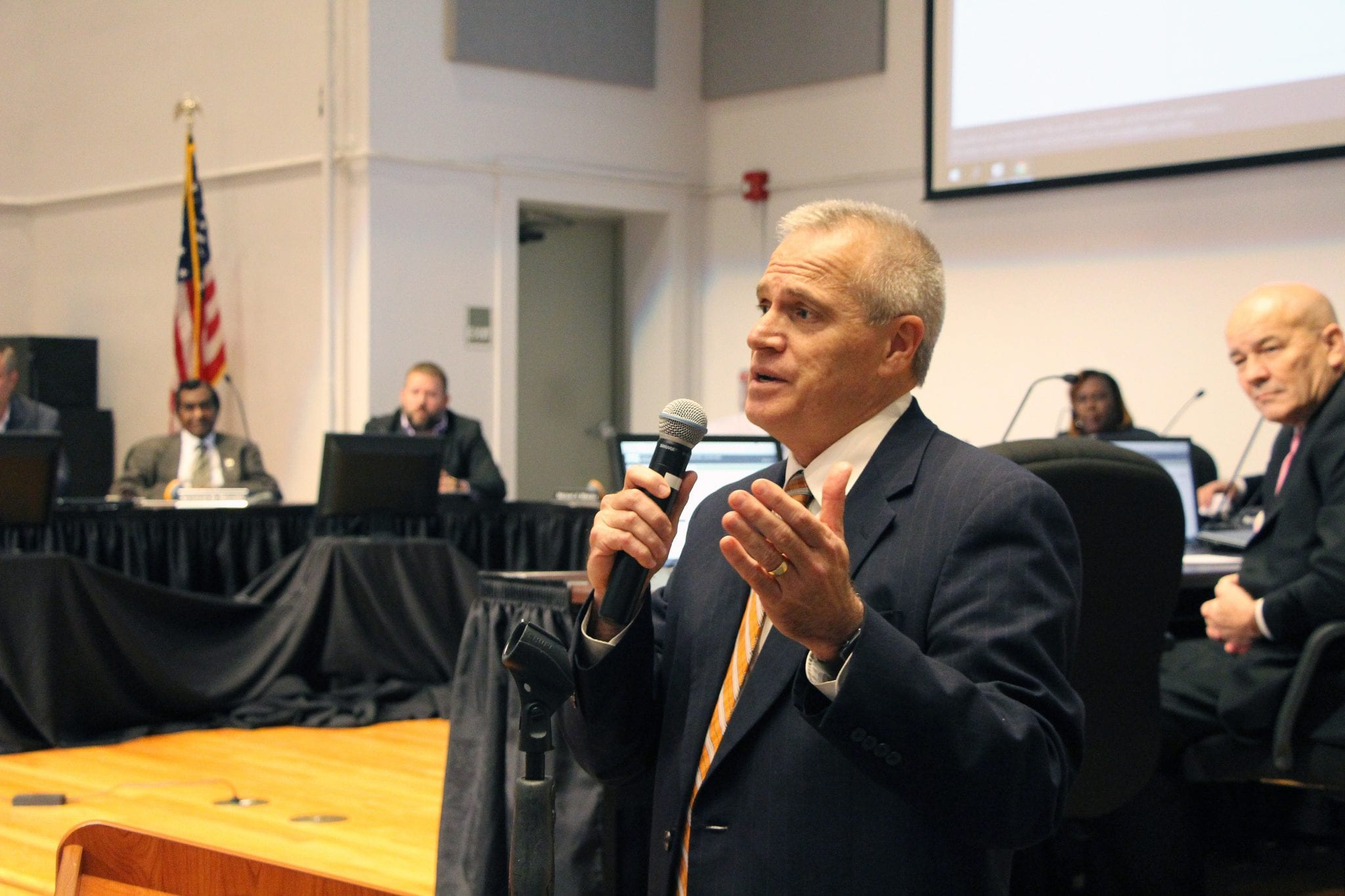 Amanda Simmons/Press-Tribune | Scott Smith addresses the audience following the Bossier School Board's vote to name him the new Superintendent of Bossier Schools. Smith received nine out of 11 board member votes.