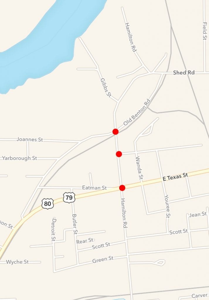 The red dots indicate the intersections that will be blocked off during the fire drill training June 30.