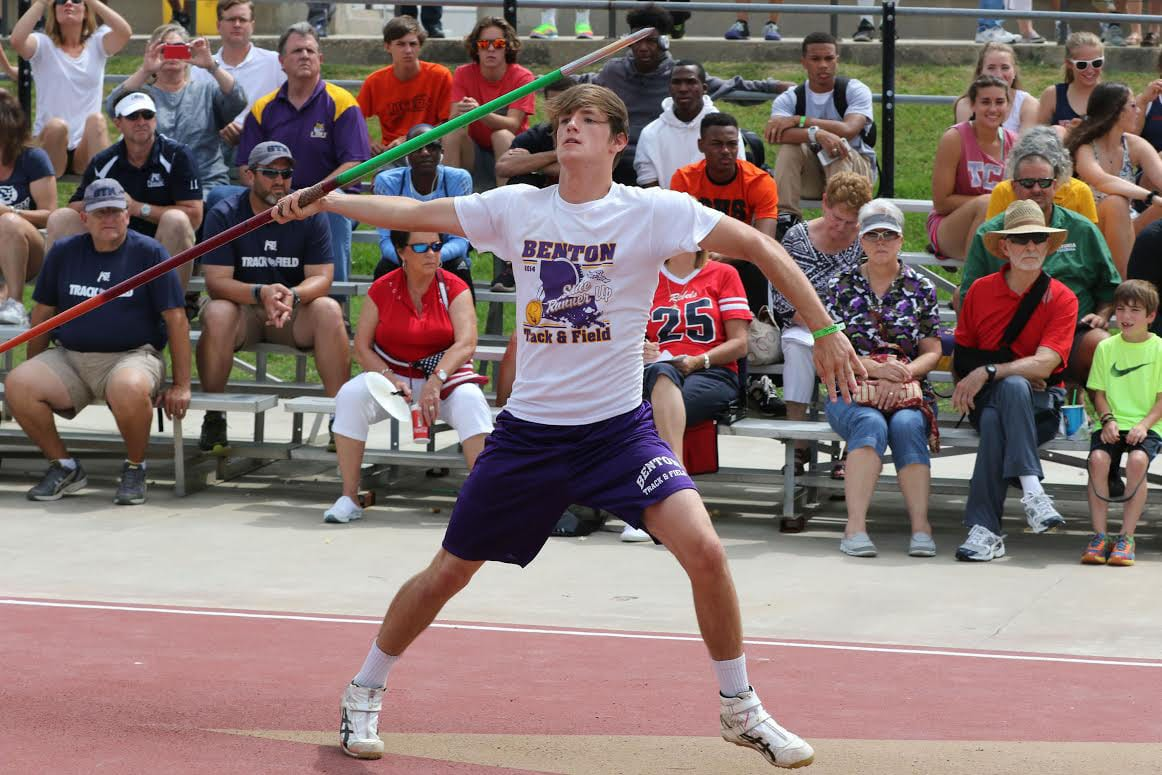 Robert Summerlin/Special to the Times/File Photo Benton's Collin Milton, who recently signed with Northwestern State, finished third in the Class 4A state meet in the javelin in 2015.