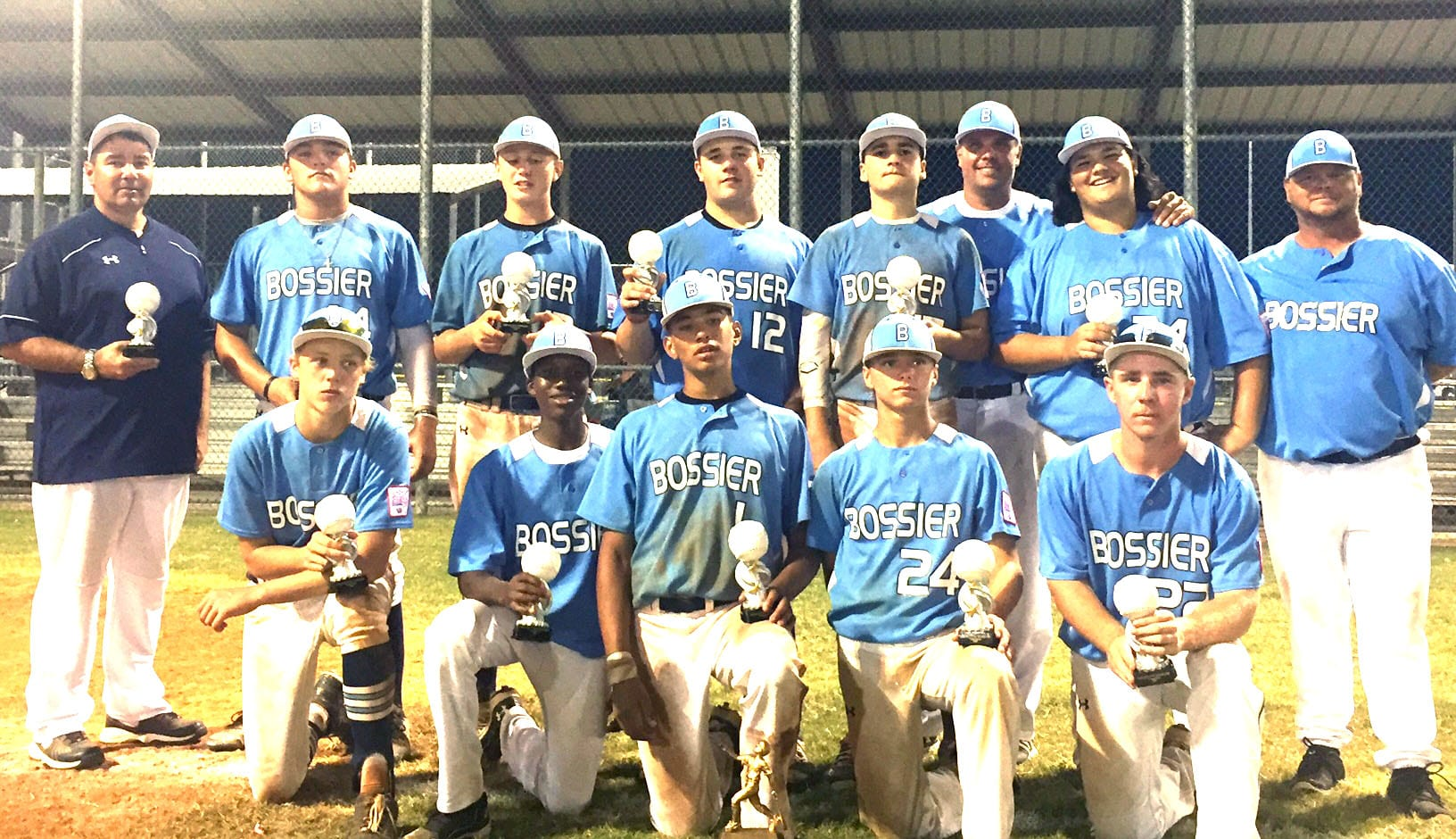 Courtesy Photos The Bossier All-Stars won the Dixie Boys (14s) state championship in Pineville on Wednesday. Here they are after winning the state championship at Walbrook Park last month.