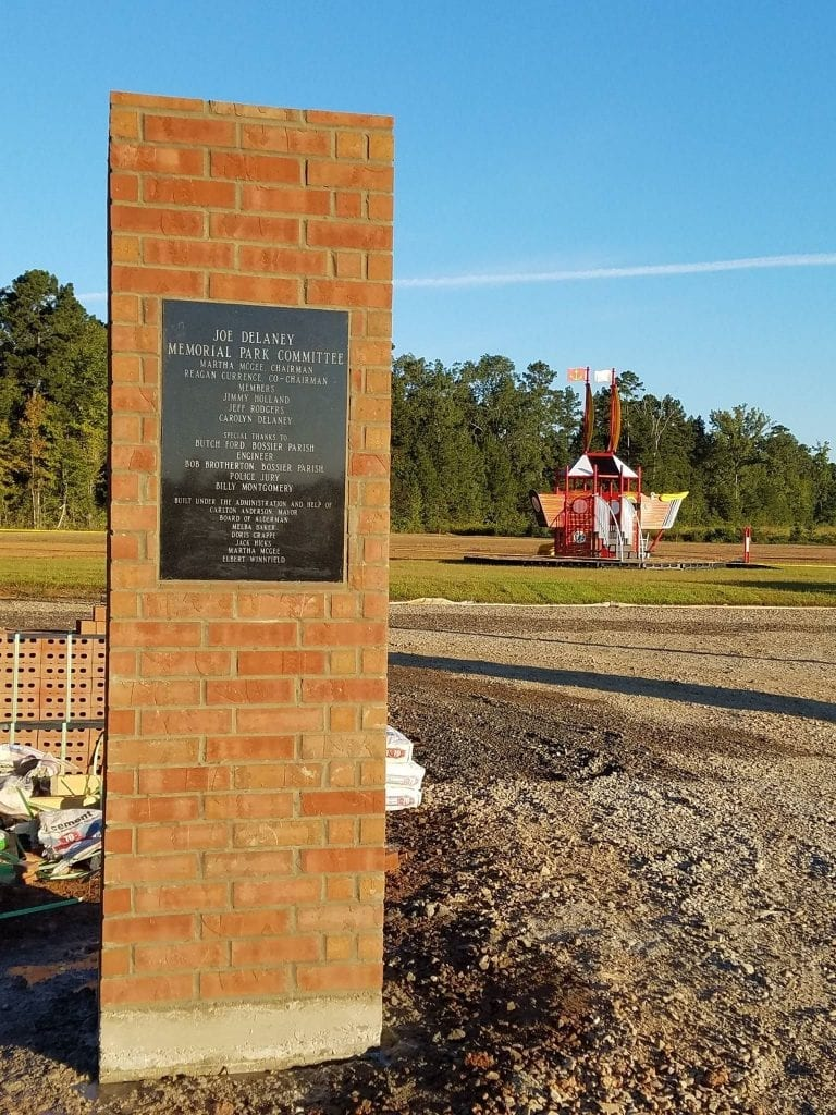 Dedication plaque outside Joe Delaney Memorial Park in Haughton.