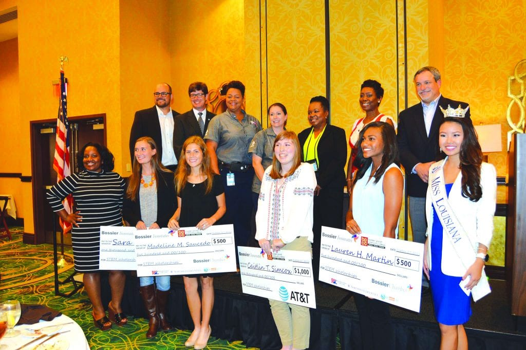 The Bossier Innovates Foundation, a 501(c)3 nonprofit organization of the Bossier Chamber, awarded scholarships to high school junior girls who have identified an interest in majoring in STEM-related subjects. Two $1,000 scholarships went to Caitlin Simcox of Airline High School and Sara Miller of Haughton High School, while two $500 scholarships were given to Madeline Sauced of Parkway High School and Lauren Martin of Airline High School.
