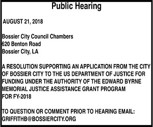 Advertisement – BCPD Public Hearing Justice Assistance Grant