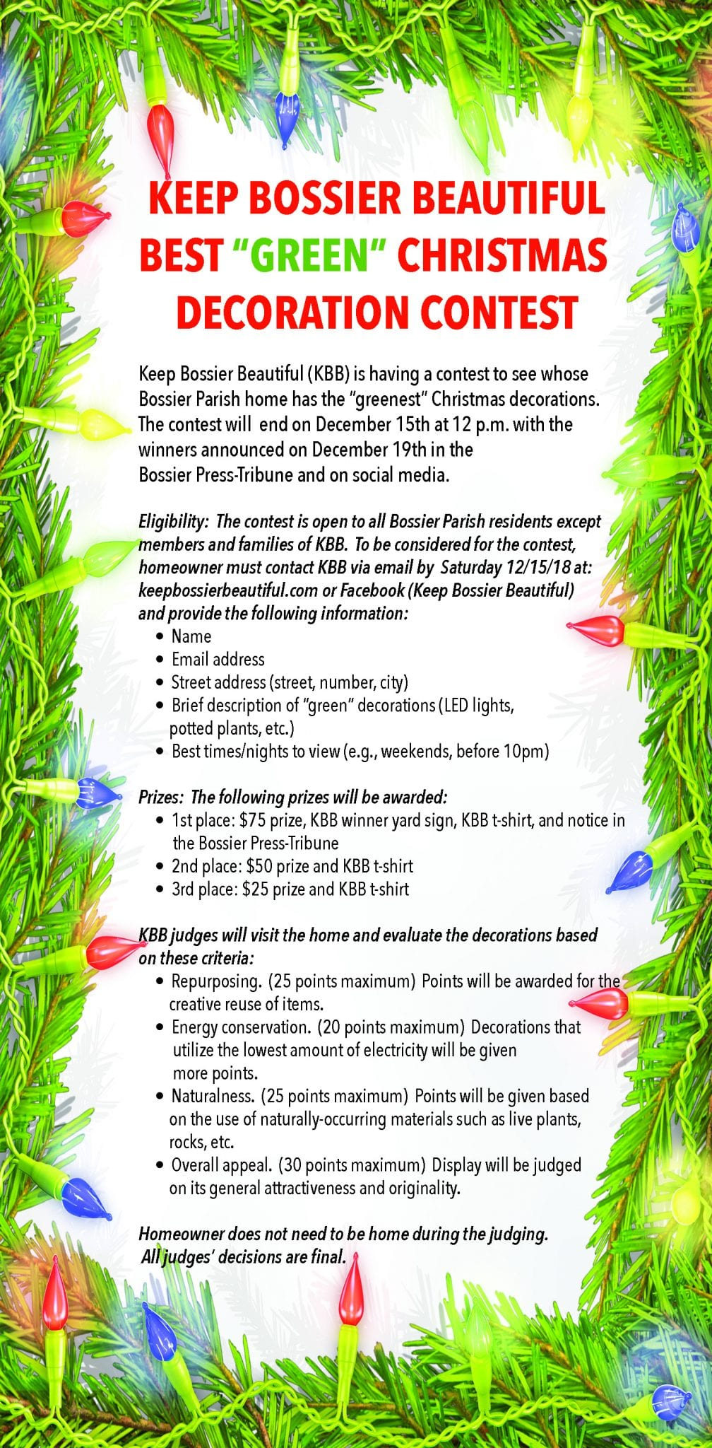 Advertisement – Keep Bossier Beautiful (Christmas Lights Contest)